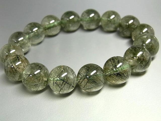 パワーストーン 天然石 大粒 グリーンルチル ルチルクォーツ 緑針水晶 ブレスレット 13~14mm 【Felistone】 GRRB30