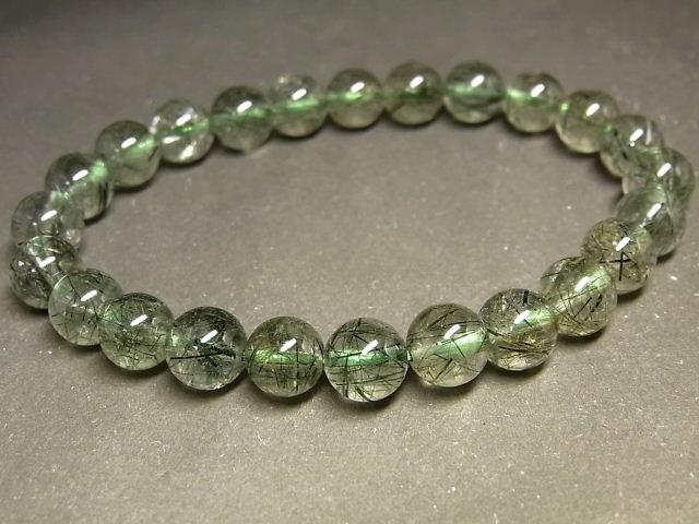 パワーストーン 天然石 グリーンルチル ルチルクォーツ 緑針水晶 ブレスレット 7.5~8mm 【Felistone】 GRRB35