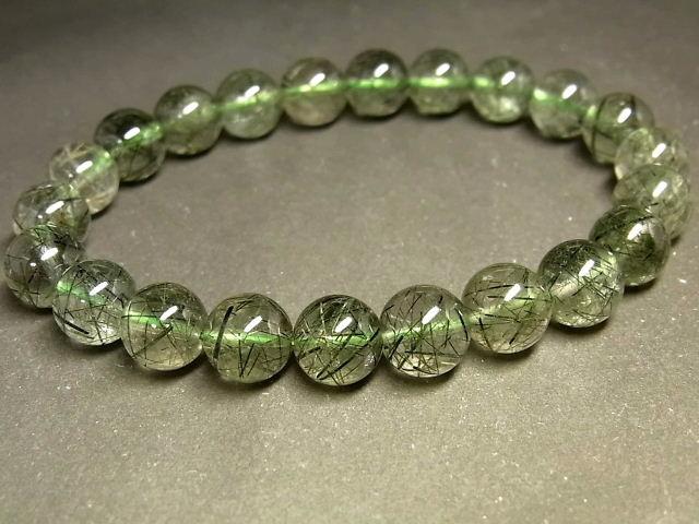 パワーストーン 天然石 グリーンルチル ルチルクォーツ 緑針水晶 ブレスレット 8.5~9mm 【Felistone】 GRRB36