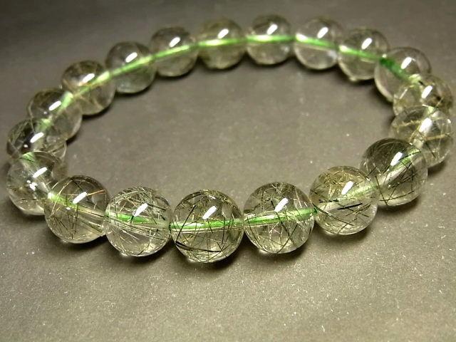 パワーストーン 天然石 最高級 透明 グリーンルチル ルチルクォーツ 緑針水晶 ブレスレット 10.5~11mm 【Felistone】 GRRB38