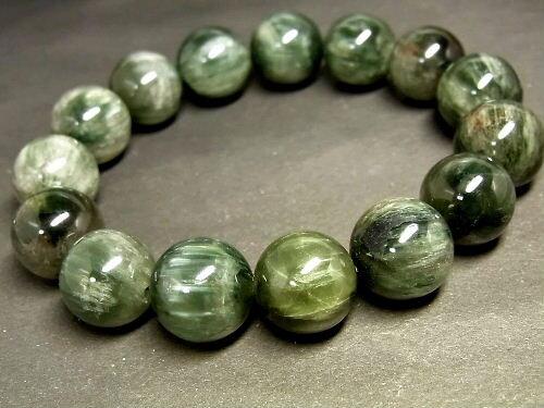 パワーストーン 天然石 グリーンルチル キャッツアイ ルチルクォーツ 緑針水晶 ブレスレット 13~14mm 【Felistone】 GRRB18