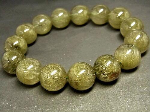 パワーストーン 天然石 グリーンルチル ルチルクォーツ 緑針水晶 ブレスレット 14.5mm 【Felistone】 GRRB20