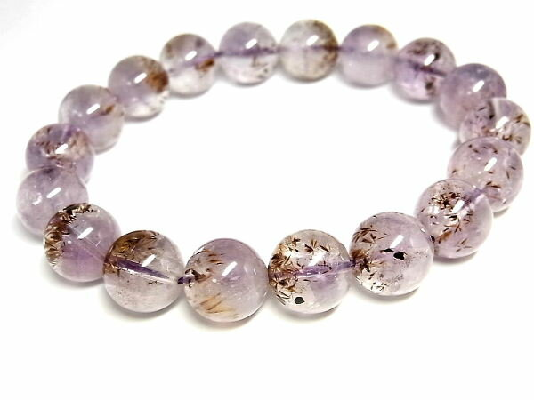 パワーストーン 天然石 カコクセナイト・イン・アメジスト 紫水晶 ブレスレット 11.5~12mm 【Felistone】 CacoxeniteB10
