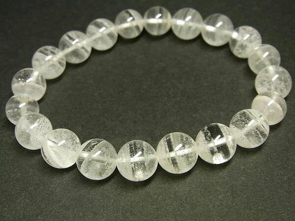 パワーストーン 天然石 白色千層ファントムクォーツ 水晶ブレスレット 9~10mm 【Felistone】 PhantomB59