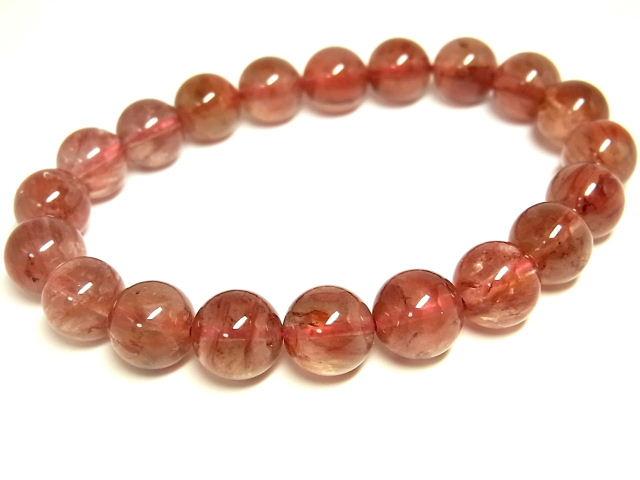 レッドクォーツ RedQuartzB20 天然石 9.5~10mm ブレスレット 赤水晶 パワーストーン 【Felistone】 赤鉄水晶
