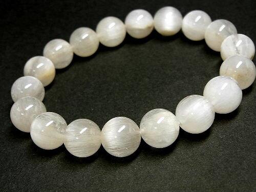 パワーストーン 天然石 ホワイトルチル ルチルクォーツ 白針水晶 ブレスレット 11mm 【Felistone】 WHRB06