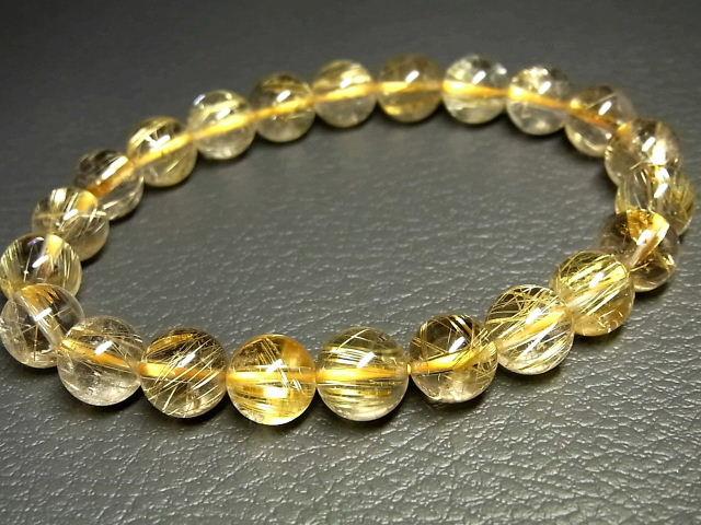 パワーストーン 天然石 高透明 タイチンルチル ルチルクォーツ 水晶ブレスレット 9~9.5mm 【Felistone】 TRB1049