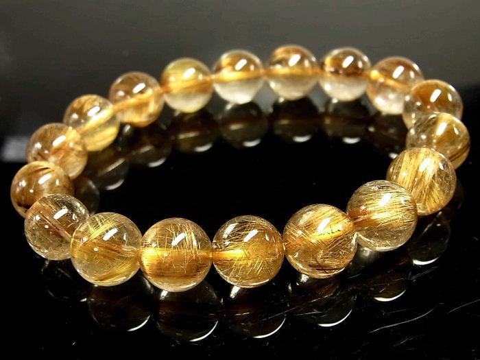 パワーストーン 天然石 タイチンルチル ルチルクォーツ 水晶ブレスレット 10.5~11mm 【Felistone】 TRB883