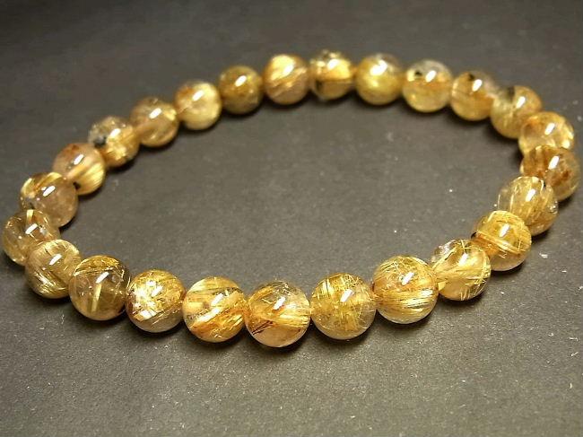 パワーストーン 天然石 タイチンルチル ルチルクォーツ 水晶ブレスレット 7~7.5mm 【Felistone】 TRB885