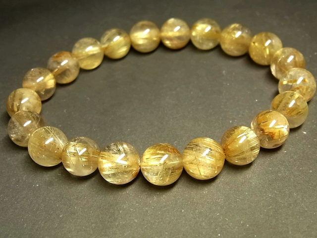 パワーストーン 天然石 タイチンルチル ルチルクォーツ 水晶ブレスレット 9~9.5mm 【Felistone】 TRB968