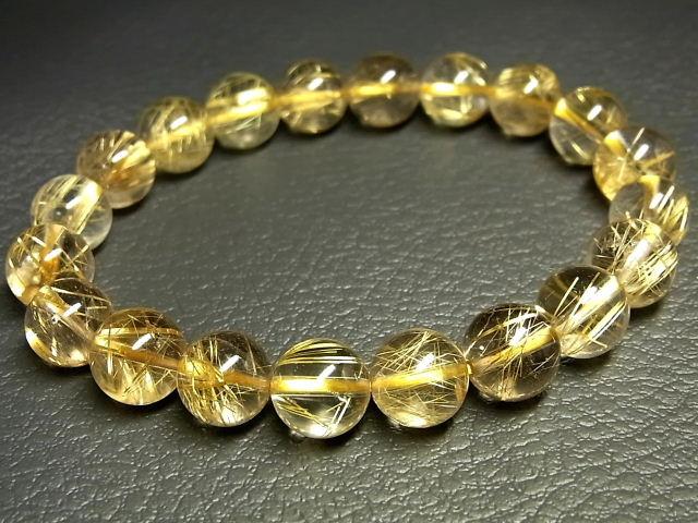 パワーストーン 天然石 タイチンルチル ルチルクォーツ 水晶ブレスレット 9.5~10mm 【Felistone】 TRB997