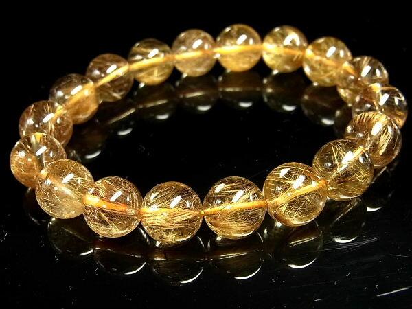 パワーストーン 天然石 ゴールドルチル ルチルクォーツ 金針水晶 ブレスレット 11.5~12mm 【Felistone】 GORB74