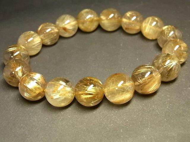 パワーストーン 天然石 タイチンルチル ルチルクォーツ 水晶ブレスレット 12~12.5mm 【Felistone】 TRB1046