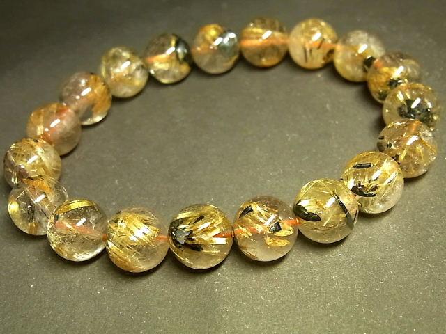 パワーストーン 天然石 太陽タイチンルチル ルチルクォーツ 水晶ブレスレット 10.5~11mm 【Felistone】 TRB1085