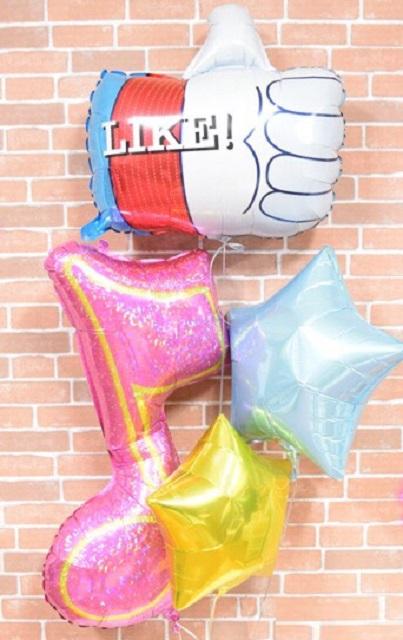 LIKE&音符バルーンギフト【送料無料 発表会 ヘリウム ヘリウムガス バルーン 風船 イベント お祝い スター ゴールド ブルー】