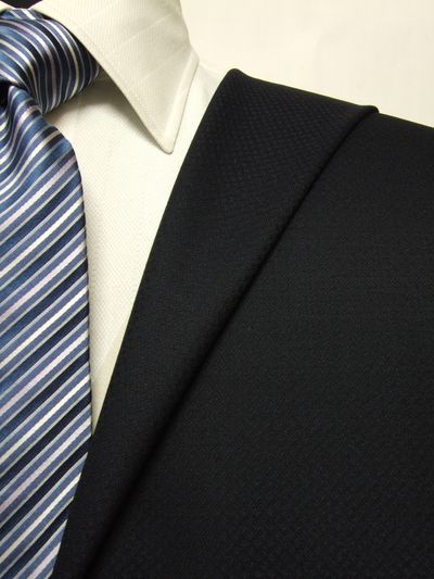 ロイヤルステージ ネイビー系 織柄 オーダースーツ 秋冬用素材 ウール100% ポリ0% 5cc806