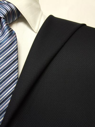 ファーストコレクション ネイビー系 織柄 オーダースーツ 秋冬用素材 ウール60% ポリ40% 87419-31