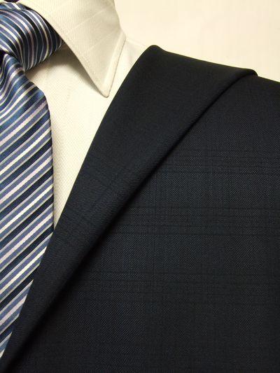 ファーストコレクション ネイビー系 シャドー チェック オーダースーツ 秋冬用素材 ウール60% ポリ40% 87420-33