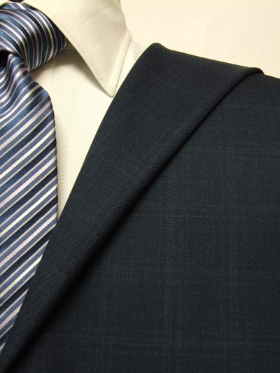 ファーストコレクション ネイビー系 チェック オーダースーツ 秋冬用素材 ウール60% ポリ40% 87422-35