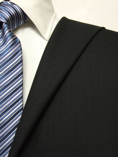 プレミアム ブラック系 織柄 オーダースーツ 秋冬用素材 ウール100% ポリ0% 87446-20