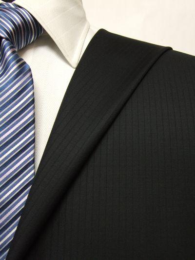 カノニコ ブラック系 シャドー ストライプ オーダースーツ 秋冬用素材 ウール100% ポリ0% 87836-16