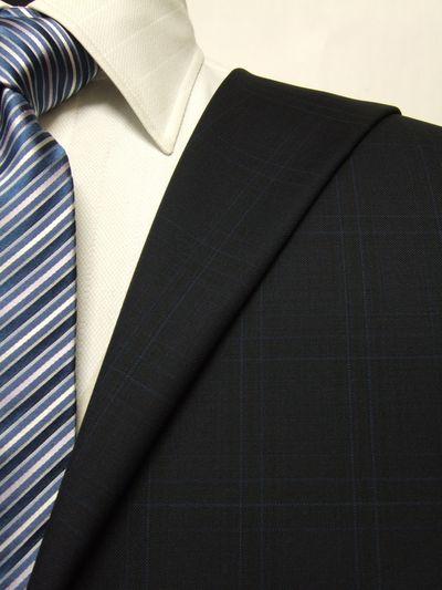 カノニコ ネイビー系 チェック オーダースーツ 秋冬用素材 ウール100% ポリ0% 87843-29