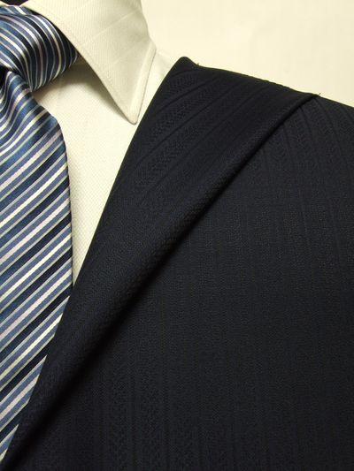 スキャバル ネイビー系 シャドー ストライプ オーダースーツ 秋冬用素材 ウール100% ポリ0% 87869-25