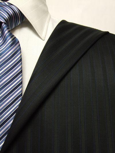 スキャバル ネイビー系 シャドー ストライプ オーダースーツ 秋冬用素材 ウール100% ポリ0% 87875-22