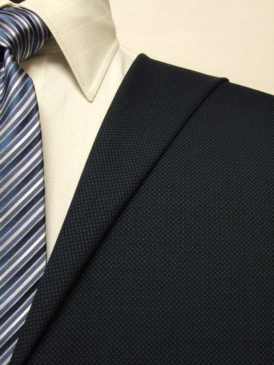 エグゼグティブ ネイビー系 織柄 オーダースーツ 春夏用素材 ウール65% ポリ35% 5bc833