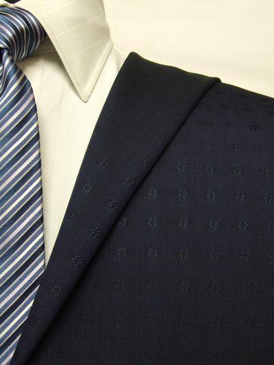 カノニコ ネイビー系 織柄 オーダースーツ 春夏用素材 ウール100% ポリ0% 85833-23