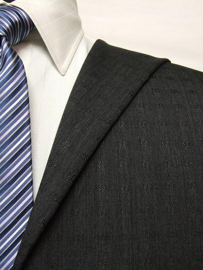 カノニコ グレー系 織柄 オーダースーツ 春夏用素材 ウール100% ポリ0% 85833-58