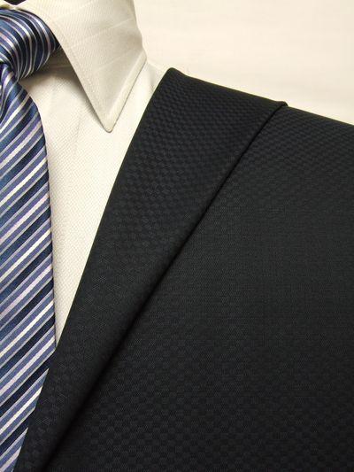 カノニコ ネイビー系 織柄 オーダースーツ 春夏用素材 ウール100% ポリ0% 85851-30