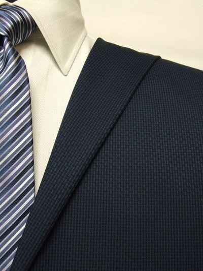 カノニコ ネイビー系 織柄 オーダースーツ 春夏用素材 ウール100% ポリ0% 85855-39