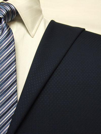 カノニコ ネイビー系 織柄 オーダースーツ 春夏用素材 ウール100% ポリ0% 85859-20