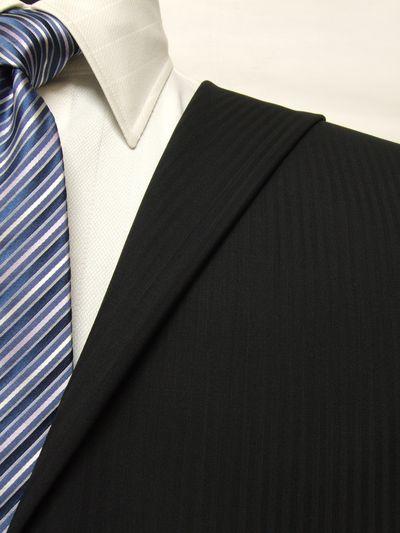 レダ ブラック系 シャドー ストライプ オーダースーツ 春夏用素材 ウール100% ポリ0% 85867-13