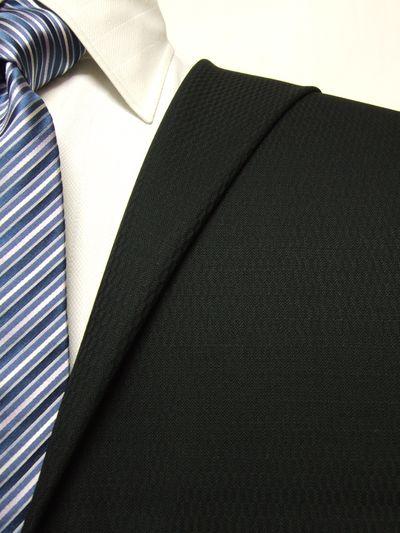ロイヤルステージ ブラック系 織柄 オーダースーツ 秋冬用素材 ウール100% ポリ0% 5cc904