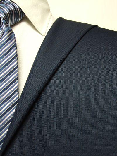 エグゼグティブ ネイビー系 織柄 オーダースーツ 秋冬用素材 ウール70% ポリ30% 5cc923