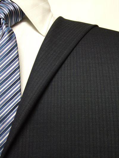 エグゼグティブ ネイビー系 シャドー ストライプ オーダースーツ 秋冬用素材 ウール70% ポリ30% 5cc925