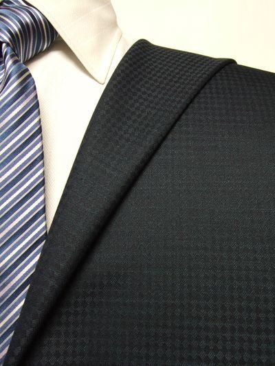 エグゼグティブ ネイビー系 織柄 オーダースーツ 秋冬用素材 ウール70% ポリ30% 5cc927