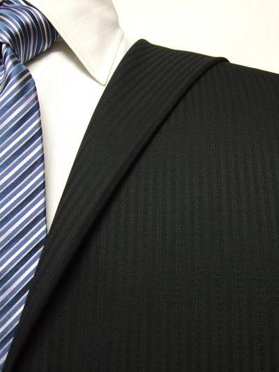 エグゼグティブ ブラック系 シャドー ストライプ オーダースーツ 秋冬用素材 ウール70% ポリ30% 5cc929