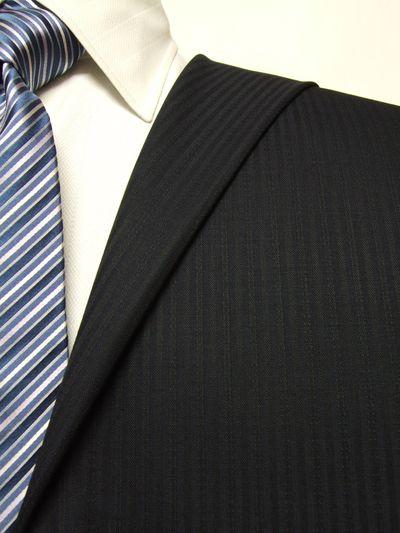 エグゼグティブ ネイビー系 シャドー ストライプ オーダースーツ 秋冬用素材 ウール70% ポリ30% 5cc930