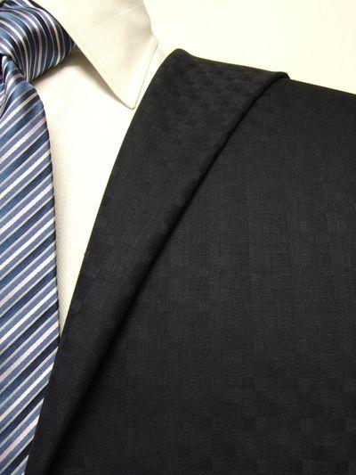 エグゼグティブ ネイビー系 織柄 オーダースーツ 秋冬用素材 ウール70% ポリ30% 5cc931
