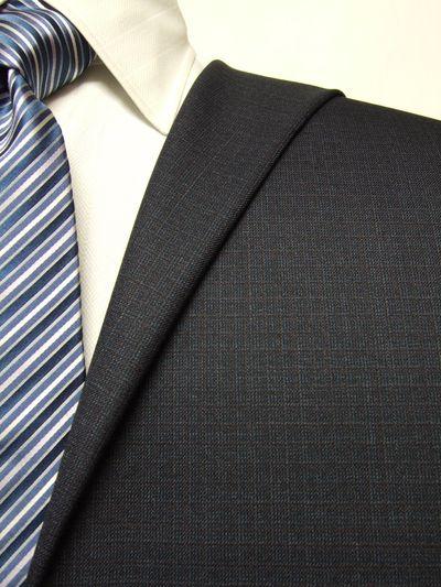 ハイクオリティ ネイビー系 織柄 オーダースーツ 秋冬用素材 ウール70% ポリ30% 5cc941