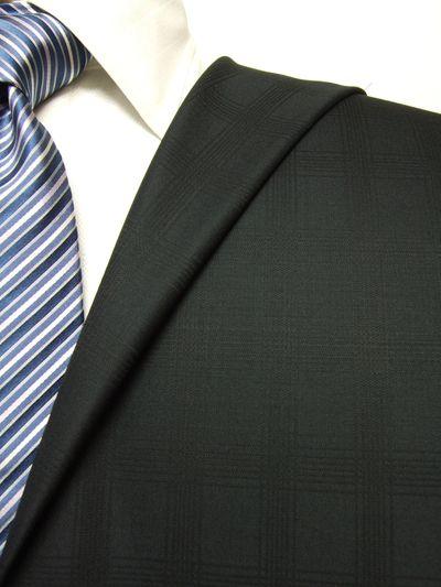 プレミアム ブラック系 シャドー チェック オーダースーツ 秋冬用素材 ウール100% ポリ0% 87524-20
