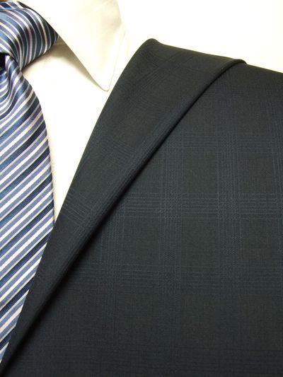 プレミアム ネイビー系 シャドー チェック オーダースーツ 秋冬用素材 ウール100% ポリ0% 87524-36
