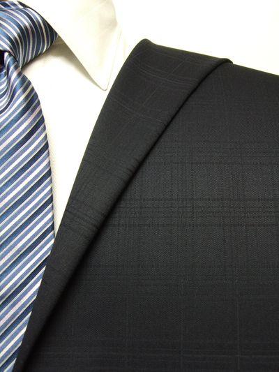 ファーストコレクション ネイビー系 シャドー チェック オーダースーツ 秋冬用素材 ウール50% ポリ50% 97411-27