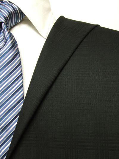 フラッグシップ ブラック系 シャドー チェック オーダースーツ 秋冬用素材 ウール100% ポリ0% 97436-18