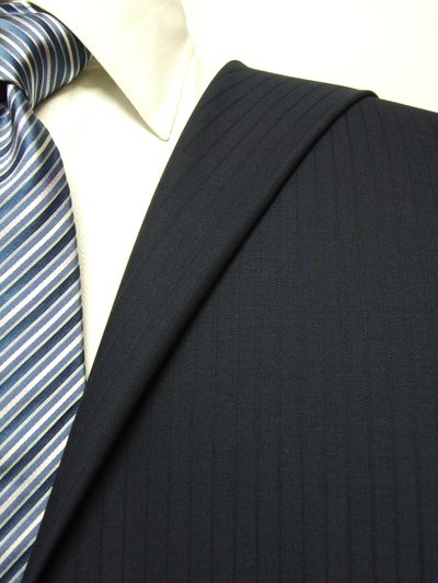 フラッグシップ ネイビー系 シャドー ストライプ オーダースーツ 秋冬用素材 ウール100% ポリ0% 97443-38