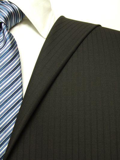 フラッグシップ ブラウン系 シャドー ストライプ オーダースーツ 秋冬用素材 ウール100% ポリ0% 97443-72