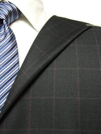 レダ グレー系 チェック オーダースーツ 秋冬用素材 ウール100% ポリ0% 97827-53